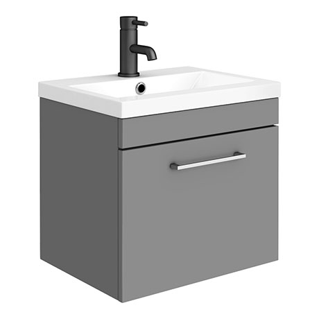 Arezzo 500 Matt Grey Wall Hung 1-Drawer Vanity Unit with Chrome Handle