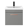 Arezzo 500 Matt Grey Wall Hung 1-Drawer Vanity Unit with Rose Gold Handle profile small image view 1