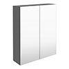 Arezzo 600 Matt Grey 2-Door Mirror Cabinet profile small image view 1
