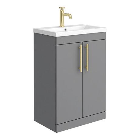 Arezzo Floor Standing Vanity Unit - Matt Grey - 600mm with Industrial Style Brushed Brass Handles