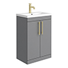Arezzo Floor Standing Vanity Unit - Matt Grey - 600mm with Industrial Style Brushed Brass Handles profile small image view 1