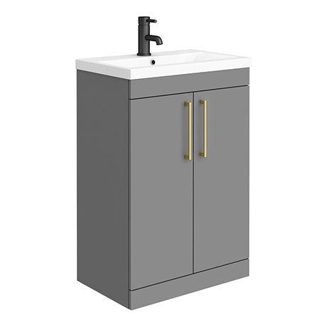 Arezzo 600 Matt Grey Floor Standing Vanity Unit with Brushed Brass Handles