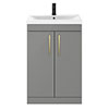 Arezzo 600 Matt Grey Floor Standing Vanity Unit with Brushed Brass Handles profile small image view 1