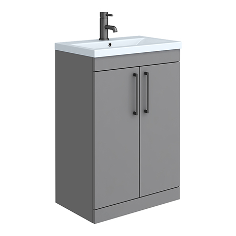 Arezzo 600 Matt Grey Floor Standing Vanity Unit with Matt Blue Basin + Black Handles