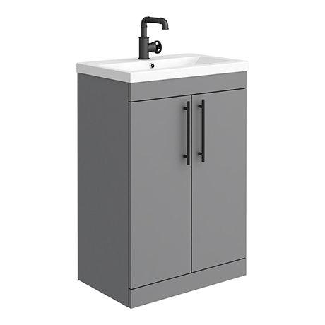 Arezzo Industrial Style 600 Matt Grey Floor Standing Vanity Unit with Matt Black Handles