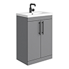 Arezzo Floor Standing Vanity Unit - Matt Grey - 600mm with Industrial Style Black Handles profile small image view 1