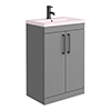 Arezzo 600 Matt Grey Floor Standing Vanity Unit with Matt Pink Basin + Black Handles profile small image view 1