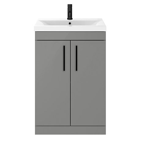 Arezzo 600 Matt Grey Floor Standing Vanity Unit with Matt Black Handles