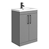 Arezzo 600 Matt Grey Floor Standing Vanity Unit with Matt Black Handles profile small image view 1