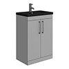 Arezzo 600 Matt Grey Floor Standing Vanity Unit with Matt Black Basin + Handles profile small image view 1
