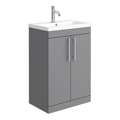 Arezzo Floor Standing Vanity Unit - Matt Grey - 600mm with Industrial Style Chrome Handles