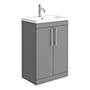 Arezzo Floor Standing Vanity Unit - Matt Grey - 600mm with Industrial Style Chrome Handles profile small image view 1