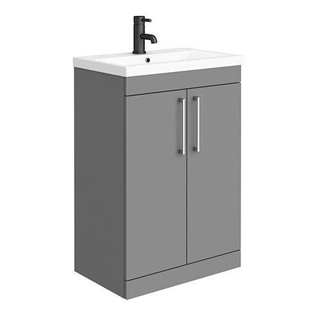 Arezzo 600 Matt Grey Floor Standing Vanity Unit with Chrome Handles