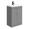 Arezzo 600 Matt Grey Floor Standing Vanity Unit with Chrome Handles profile small image view 1