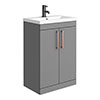 Arezzo 600 Matt Grey Floor Standing Vanity Unit with Rose Gold Handles profile small image view 1
