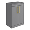 Arezzo Floor Standing Countertop Vanity Unit - Matt Grey - 600mm with Industrial Style Brushed Brass Handles profile small image view 1
