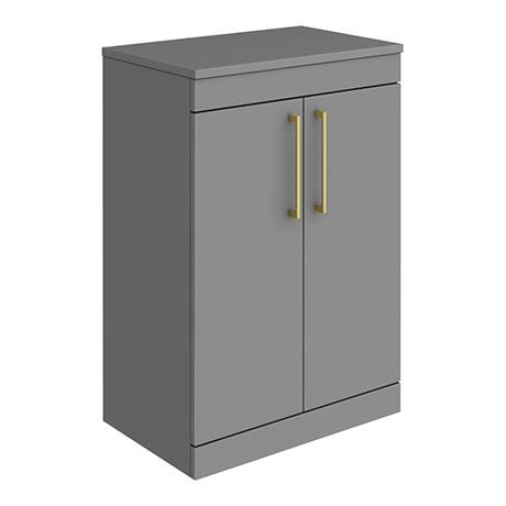 Arezzo 600 Matt Grey Floor Standing Vanity Unit with Worktop + Brushed Brass Handles