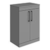 Arezzo 600 Matt Grey Floor Standing Vanity Unit with Worktop + Matt Black Handles profile small image view 1