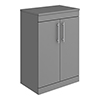 Arezzo Floor Standing Countertop Vanity Unit - Matt Grey - 600mm with Industrial Style Chrome Handles profile small image view 1