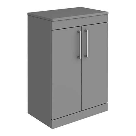 Arezzo 600 Matt Grey Floor Standing Vanity Unit with Worktop + Chrome Handles