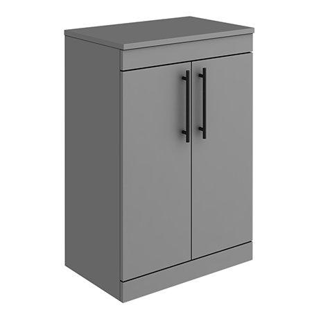 Arezzo Floor Standing Countertop Vanity Unit - Matt Grey - 600mm with Industrial Style Matt Black Ha