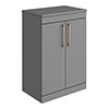 Arezzo Floor Standing Countertop Vanity Unit - Matt Grey - 600mm with Rose Gold Handles profile small image view 1