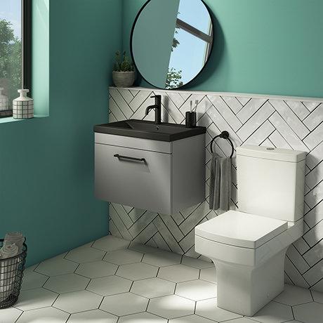 Arezzo 600 Matt Grey Wall Hung Vanity Unit with Matt Black Basin + Square Toilet