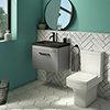 Arezzo 600 Matt Grey Wall Hung Vanity Unit with Matt Black Basin + Square Toilet profile small image view 1