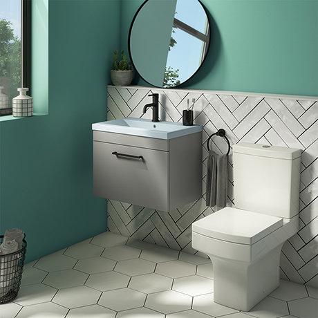 Arezzo 600 Matt Grey Wall Hung Vanity Unit with Matt Blue Basin + Square Toilet