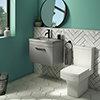 Arezzo 600 Matt Grey Wall Hung Vanity Unit with Matt Grey Basin + Square Toilet profile small image view 1