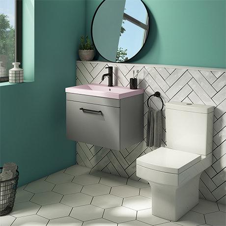 Arezzo 600 Matt Grey Wall Hung Vanity Unit with Matt Pink Basin + Square Toilet