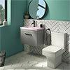 Arezzo 600 Matt Grey Wall Hung Vanity Unit with Matt Pink Basin + Square Toilet profile small image view 1