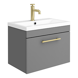 Arezzo Wall Hung Vanity Unit - Matt Grey - 600mm with Industrial Style Brushed Brass Handle