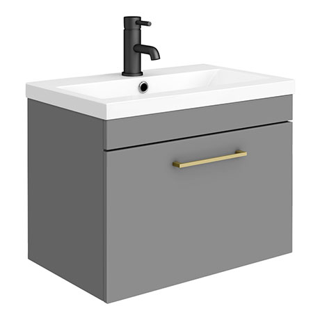 Arezzo 600 Matt Grey Wall Hung 1-Drawer Vanity Unit with Brushed Brass Handle