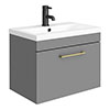 Arezzo 600 Matt Grey Wall Hung 1-Drawer Vanity Unit with Brushed Brass Handle profile small image view 1