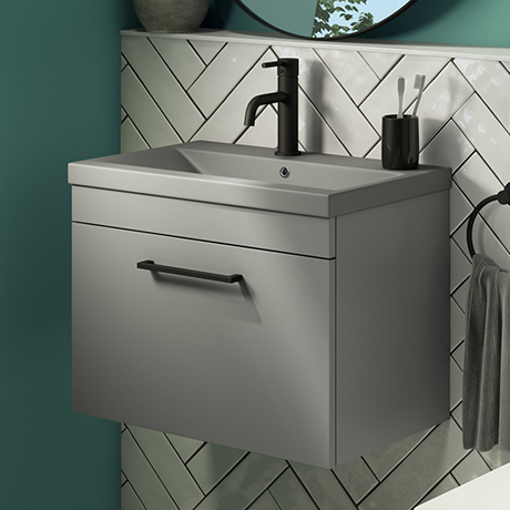 Arezzo 600 Matt Grey Wall Hung Vanity Unit with Matt Grey Basin + Black Handle