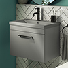 Arezzo 600 Matt Grey Wall Hung Vanity Unit with Matt Grey Basin + Black Handle profile small image view 1