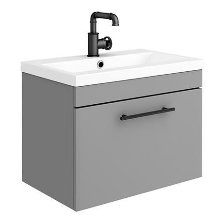 Arezzo Wall Hung Vanity Unit - Matt Grey - 600mm with Industrial Style Black Handle