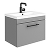 Arezzo Wall Hung Vanity Unit - Matt Grey - 600mm with Industrial Style Black Handle profile small image view 1