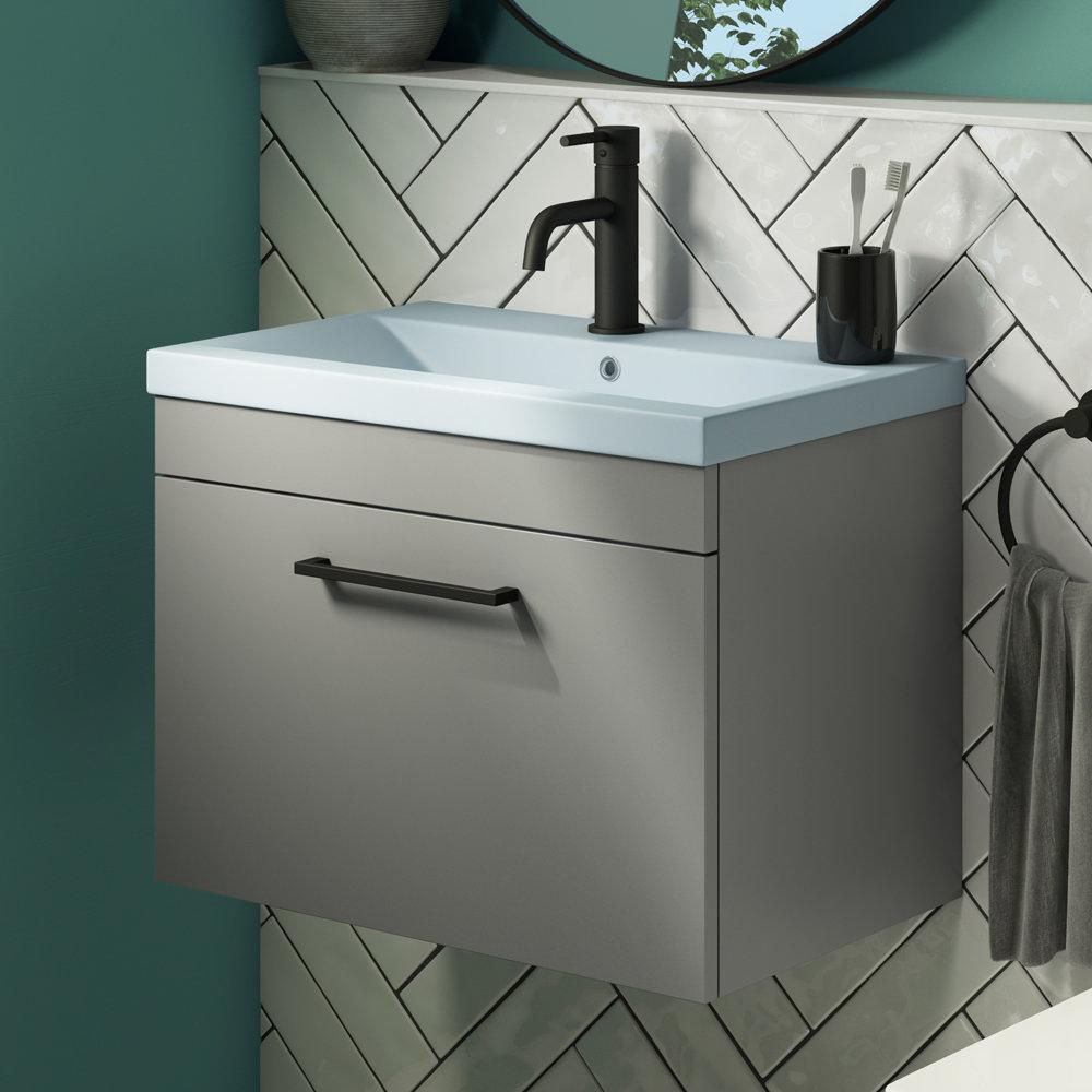 Arezzo 600 Matt Grey Wall Hung Vanity Unit with Matt Blue Basin + Black Handle