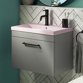 Arezzo 600 Matt Grey Wall Hung Vanity Unit with Matt Pink Basin + Black Handle