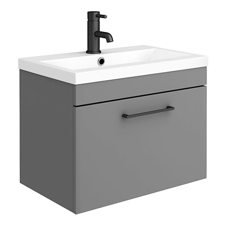 Arezzo 600 Matt Grey Wall Hung 1-Drawer Vanity Unit with Matt Black Handle