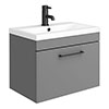 Arezzo 600 Matt Grey Wall Hung 1-Drawer Vanity Unit with Matt Black Handle profile small image view 1