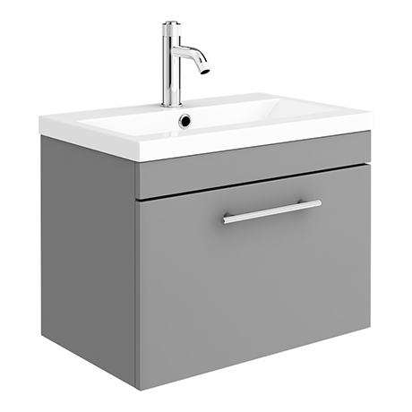 Arezzo Wall Hung Vanity Unit - Matt Grey - 600mm with Industrial Style Chrome Handle