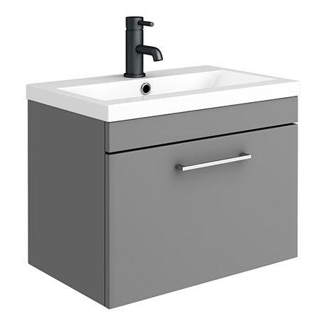 Arezzo 600 Matt Grey Wall Hung 1-Drawer Vanity Unit with Chrome Handle