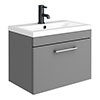 Arezzo 600 Matt Grey Wall Hung 1-Drawer Vanity Unit with Chrome Handle profile small image view 1