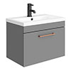 Arezzo 600 Matt Grey Wall Hung 1-Drawer Vanity Unit with Rose Gold Handle profile small image view 1