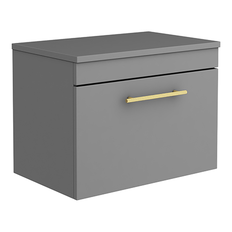 Arezzo Wall Hung Countertop Vanity Unit - Matt Grey - 600mm with Industrial Style Brushed Brass Hand