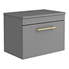 Arezzo Wall Hung Countertop Vanity Unit - Matt Grey - 600mm with Industrial Style Brushed Brass Handle profile small image view 1