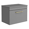 Arezzo 600 Matt Grey Wall Hung Vanity Unit with Worktop + Brushed Brass Handle profile small image view 1